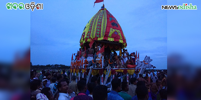 Chariot parked outside the Jagannath Temple at Biridi after Bahuda in Jagatsinghpur
