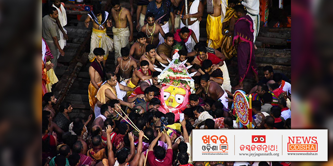 Maa Subhadra being taken back to Ratna Bedi in the temple