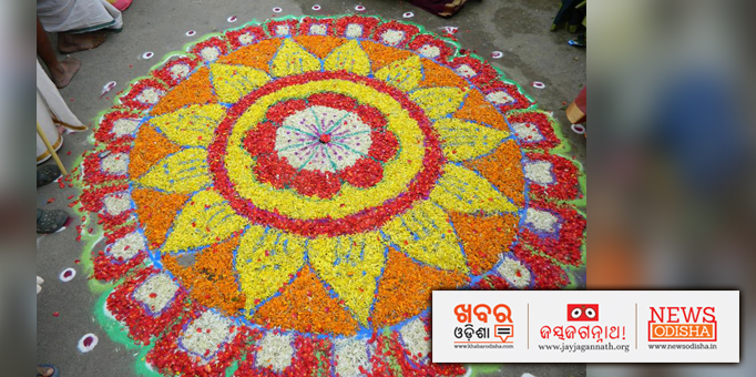 Flower rangoli for Lord Jagannath and his siblings on occasion of Rath Yatra in Salem, Tamil Nadu