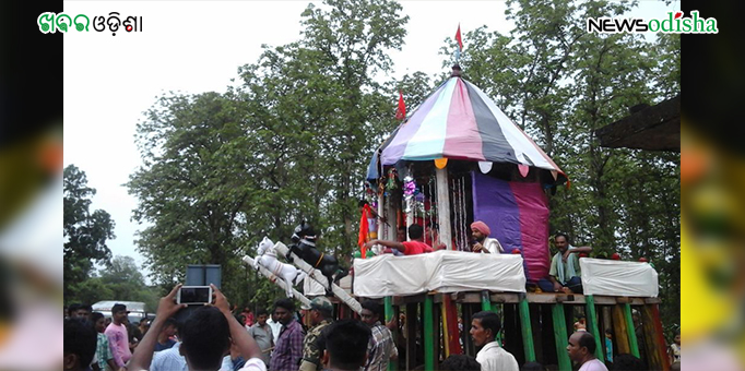 Chariot in front of Maausima Temple in Motu, Malkangiri