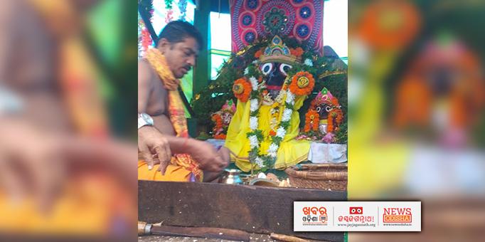 Lord Jagannath and his siblings on chariots at Sadangola in Delanga, Puri