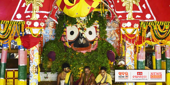 Lord Jagannath adorned with Tulsi garlands on the chariot in Puri
