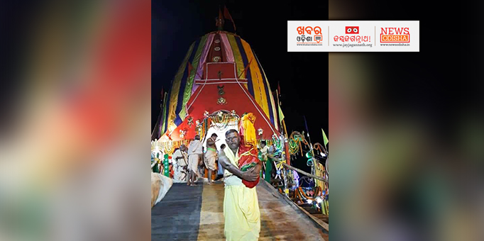 Sudarshan returns to the temple in Keonjhar after Rath Yatra