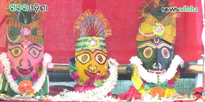 Lord Jagannath, Lord Balabhadra and Devi Subhadra  decked up to go on sojourn in Malkangiri