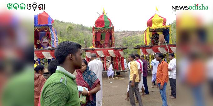 Three Lords of the chariots at Patali Khetra in Kotsamalai, Subarnapur on Rath Yatra