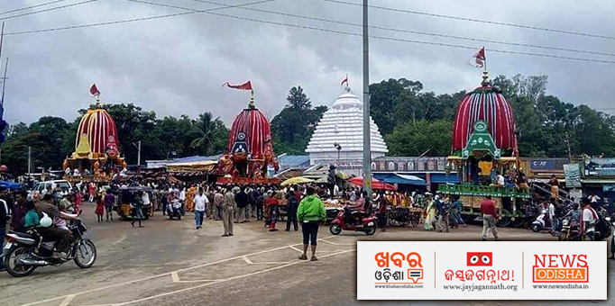 Three chariots at Shree Gundicha Temple in Koraput