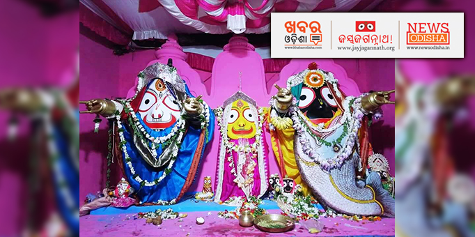 Lord Jagannath, believed to be an incarnation of Hindu God Vishnu, appearing before the devotees in Matsya Besha