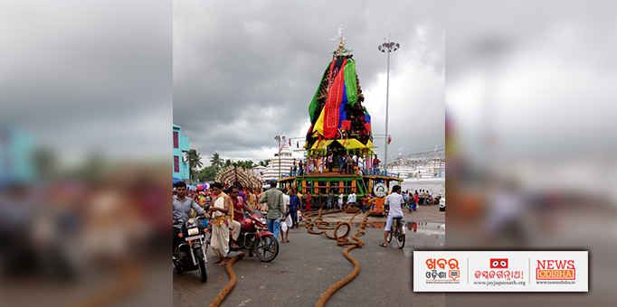 Chariots waiting for deities for Rath Jatra in Tulasi Khetra, Kendrapara