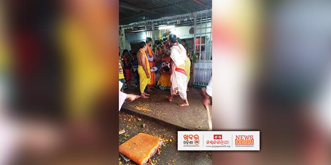 Lord Jagannath taken to chariot in Pahandi for Bahuda Yatra at  Anchalguma in Nabarangpur