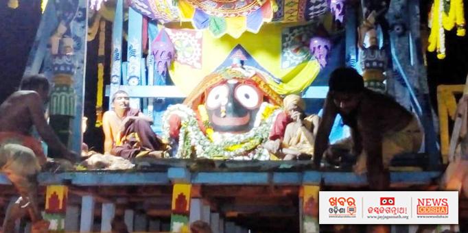 Lord Jagannath on chariot for Bahuda Yatra at Paralakhemundi in Gajapati