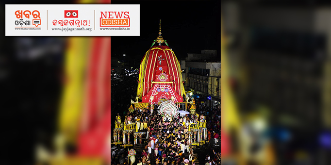 Lord Jagannath stepping down from his Nandighosha Chariot