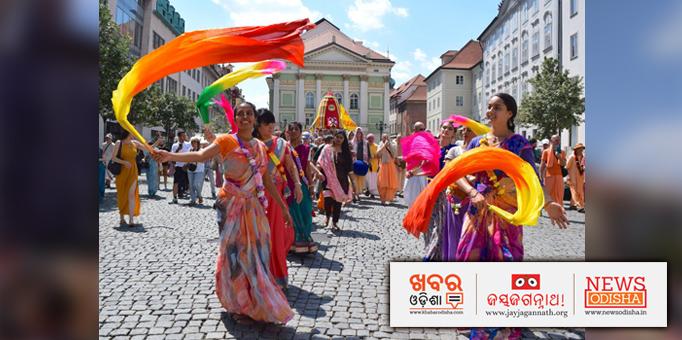 Women devotees dancing during Rath Yatra in Prague, Czech Republic