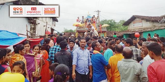 Holy Trinity returning to Sri Mandir at Gajabahal in Kalahandi district