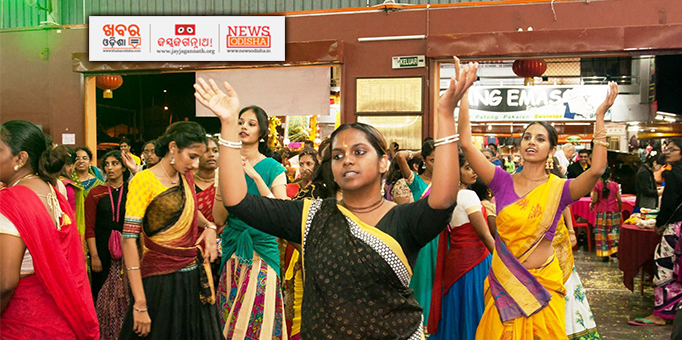 Women devotees dancing with devotion during Rath Yatra at Cameron Highlands, Malaysia