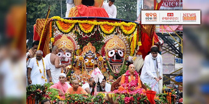 Holy trinity looking adorable on occasion of Rath Yatra at Ujjain ISCKON temple, MP