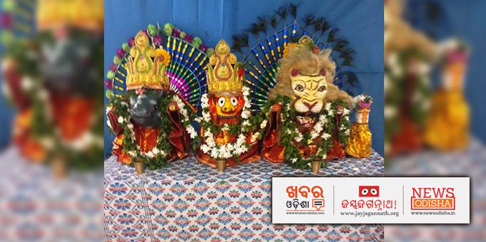 Lord Jagannath's Nrusingha Avatara Besha on the Adapa Mandapa, pictures from Baudh