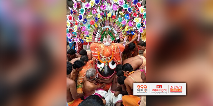Lord Jagannath being escorted to the chariot for Bahuda Yatra in Ranpur, Nayagarh