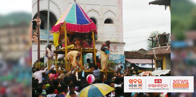 Holy trinity on the chariot in Jaipatna, Kalahandi