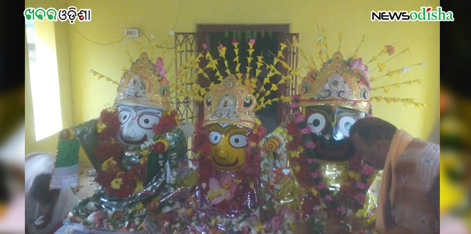 Lord Jagannath and His siblings at Maausima Temple in Bhela in Nuapada district