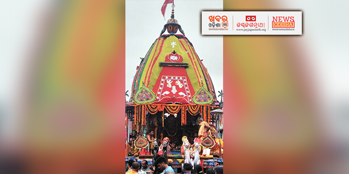 Holy trinity on the chariot for Bahuda Yatra in Phulbani