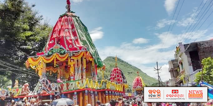 Three deities on their return journey to main temple during Bahuda Yatra in Paralakhemundi