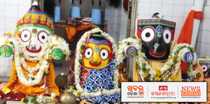Lord Jagannath and His Siblings Naba Jauban Besha in a temple in Jajpur