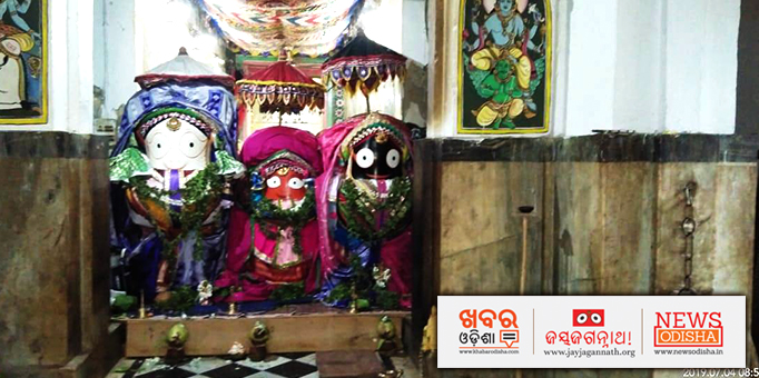 Deities on 'Ratna Bedi' at Jagannath Temple in Khordha