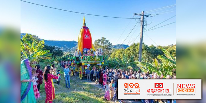 Devotees pulling chariot of Lord Jagannath in Australia