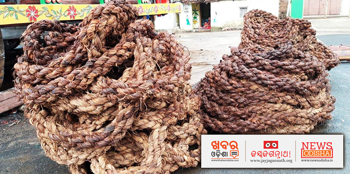 Ropes before being fixed to the chariots at Jagannath Temple in Khordha