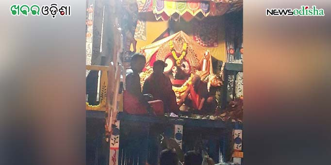 Lord Jagannath on the chariot in Suna Besha at Paralakhemundi in Gajapati