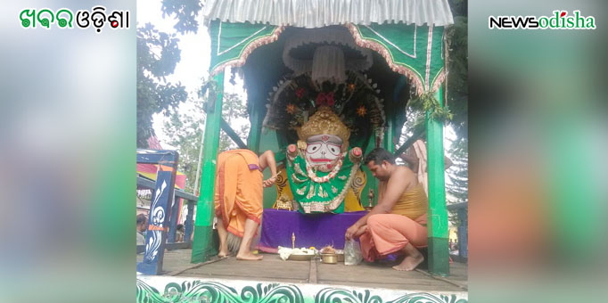 Lord Balabhadra on the chariot as the Rath roll back home at Baliguda in Kandhamal