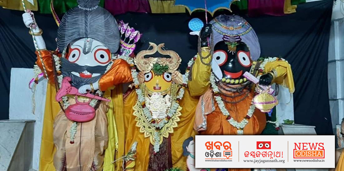 Lord Jagannath, Goddess Subhadra and Lord Balabhadra adorned in Bali Baman Besha.