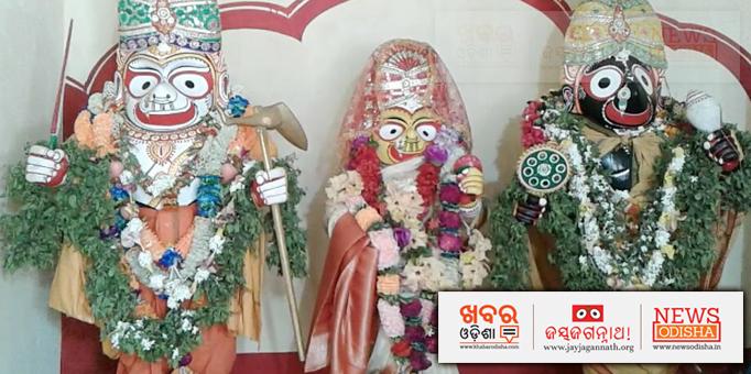 Holy Trinity adorned in Krushna-Balaram Besha.