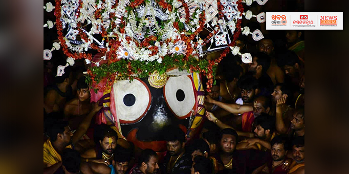 Khabar Odisha:After-nine-day-sojourn-Lord-Jagannath-is-being-taken-temple-in-Goti-Pahandi-