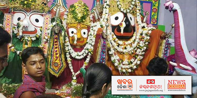 Lord Jagannath Goddess Subhadra and Lord Balabhadra adorned in beautiful flowers and tulasi leaves.