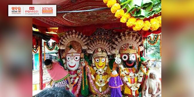 Holy trinity illuminates in golden attire in Nabarangpur