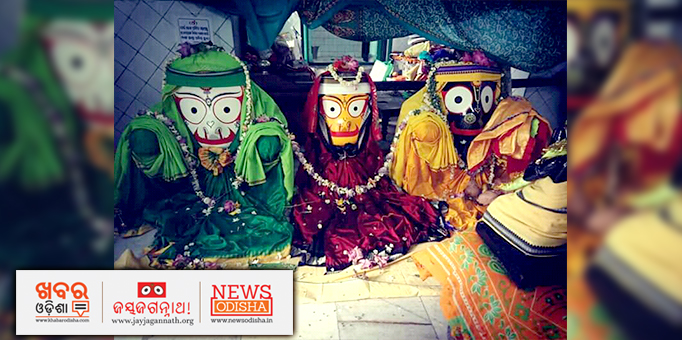 Lord Jagannath, Lord Balabhadra and Devi Subhadra during 'Naba Jaubana Besha Darshan' rituals at a temple in Bissam Cuttack