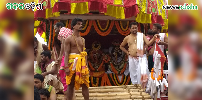 Lords atop the chariot as the Bahuda Yatra was about to begin at  Biridi in Jagatsinghpur