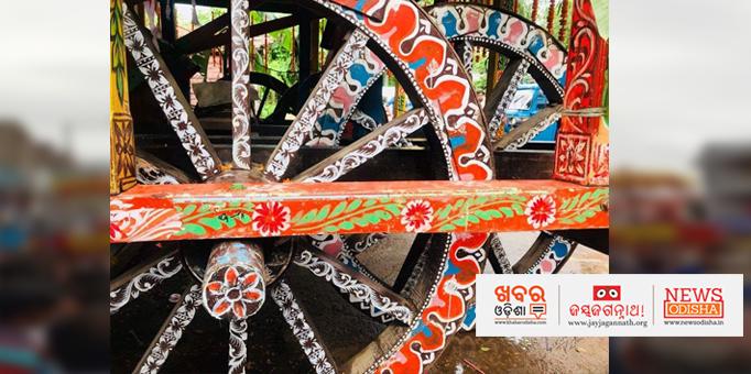 Beautifully decorated wheels of the chariot in Nilagiri, Balasore-