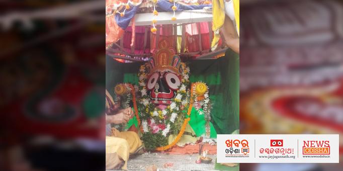 Lord Jagannath om the chariot at Maindi in Jagatsinghpur