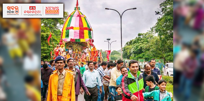 Lord Jagannath, Lord Balabhadra and Devi Subhadra returning to their abode on Bahuda Yatra in Koraput