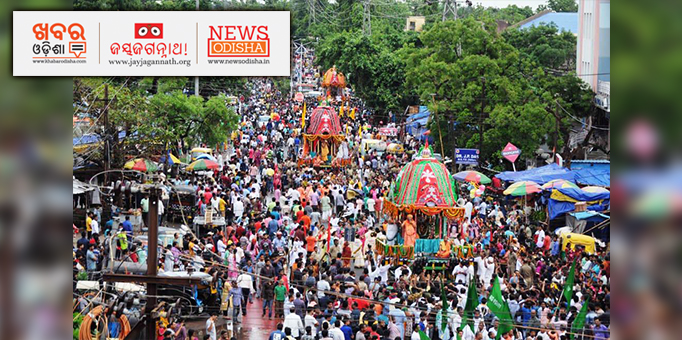 ISCON Temple propagates Jagannath Cult's core beliefs based on the Hindu scriptures, pictures of Bahuda Yatra from Bhubaneswar's ISCON Temple