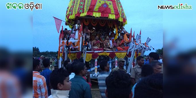 Colorful chariot takes Lords back home at Biridi in Jagatsinghpur during Bahuda