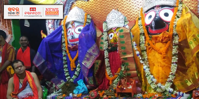 Holy trinity looks beautiful on occasion of Rajarajeswari Besha at Rairangpur, Mayurbhanj